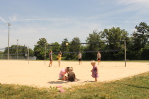 The big kids played volleyball while the 'littles' just played in the sand.